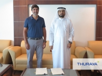 Ali Al Hashemi, chief executive officer of Thuraya with executive director of Elcome, Jimmy Grewal